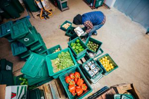 FoodShare staff sorts vegetables and fruit in warehouse