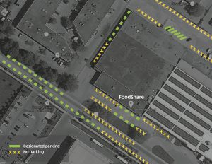 Satellite map of parking space around FoodShare