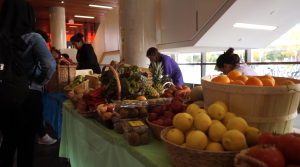 Tables full of produce at the George Brown College Waterfront Campus
