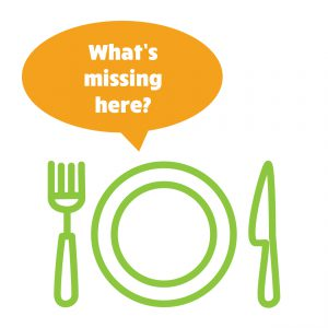 "Graphic of empty plate with text bubble reading, ""What's missing here?"""