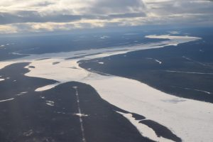 Aerial view of rivers and land