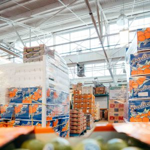 Stacks of produce sit in FoodShare's warehouse