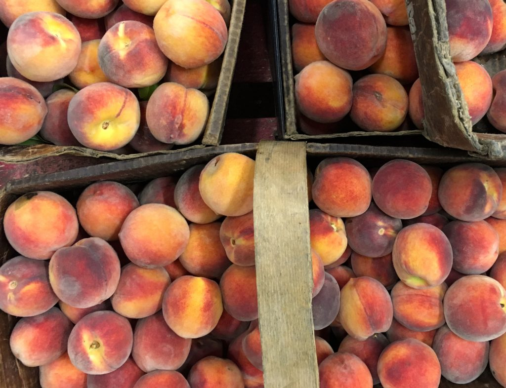 Ovearhead angle of baskets of peaches